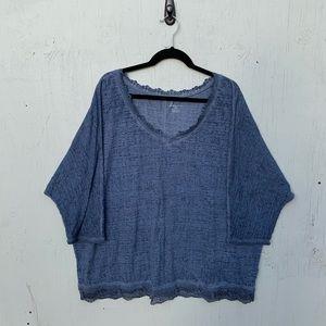Lane Bryant Blue Lace Trim Knit Top